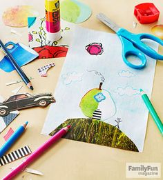 Clever Collages: Give your child an imagination workout with an open-ended activity that blends drawing and cool cutouts.