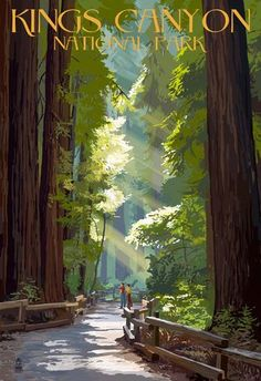 (13x19) Kings Canyon National Park, California - Pathway and Hikers Vintage Poster Poster http://www.amazon.com/dp/B00MEBXQWM/ref=cm_sw_r_pi_dp_NcIcub1Q6PHKX