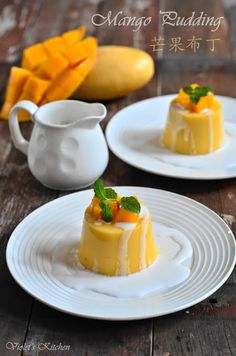Mango Pudding using agar agar *** To try next *** Cold Desserts, Asian Desserts, Mini Desserts, Delicious Desserts, Yummy Food, Pureed Food Recipes, Cooking Recipes, Mango Pudding, Thai Dessert