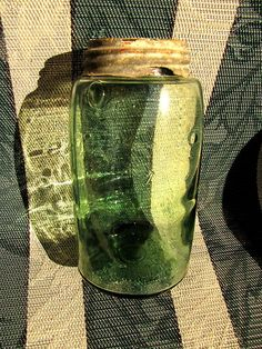 Antique Atlas Masons Patent Green Jar w Lid | eBay