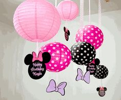 Minnie Mouse Bowtique<br>Personalized Hanging Paper Lanterns, Set of 3