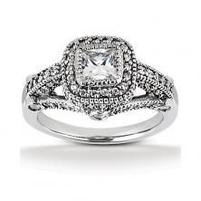 14k White gold square halo engagement ring with diamond encrusted sides and milgrain edges available at Wheat Jewelers