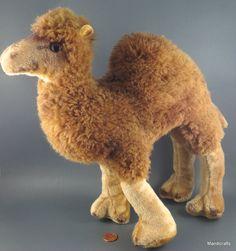 #Dromedary Camel Dralon Plush Germany Large 11 inch Glass Eyes c1960s Vintage