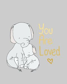 Elephant Nursery Art -- You Are Loved -- Mama and Baby Elephant Art -- Nursery Quote -- Gold and Grey -- Children's Art -- Kids Wall Art Elephant Love, Little Elephant, Elephant Art, Mama Elephant, Art Wall Kids, Art For Kids, Wall Art, Art Children, Wall Decor