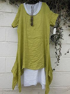 """LINEN DRESS TUNIC 2 PIECE & NECKLACE PLUS SIZE 48"""" BUST BNWT LAGENLOOK ETHNIC in Clothes, Shoes & Accessories, Women's Clothing, Dresses 