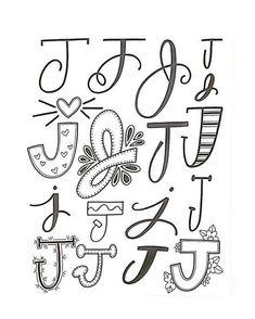 Verschiedene Möglichkeiten für den Buchstaben J zu variieren