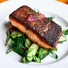 #pansearedsalmon #cucumber #dill salad#salmondinner #bloodorange #cucumberanddillsalad #salad #bloodorangesalad #salmon #seafood Seared Salmon Recipes, Orange Salad, Blood Orange, Steak, Food, Meals, Yemek, Steaks, Eten