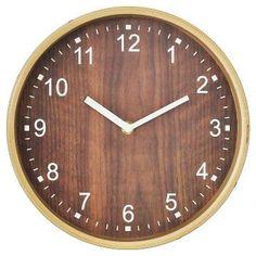 Wood Grain Wall Clock Gold 10