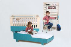 Kidskoje designed a serie of growing furniture for kids. The crib can turn into a bed as your children grows. Also the shelfdesk is height-adjustable.