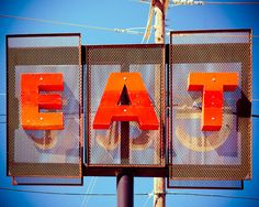 Eat Retro Diner Sign 8 x 10 Print Fine Art by Squintphotography Eat. Fine art photograph by Sonja Quintero Retro and groovy restaurant diner sign in Downtown Dallas. Diner Sign, Diner Decor, Eat Sign, Man Cave Art, Retro Diner, Restaurant Signs, Free Prints, Home Wall Art, Large Wall Art