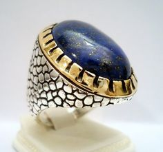 925 Sterling Silver Men's Ring with Genuine Lapis Lazuli