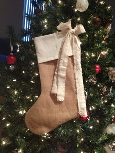 Burlap & Muslin Shabby Chic Christmas Stocking With Cute Wine Cork Detail