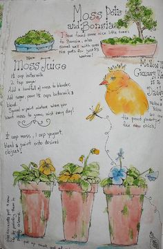 Garden journal moss pot page by art by kim the Ink Cat, via Flickr