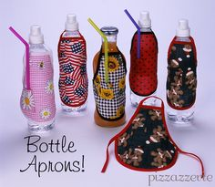 Bottle Aprons...mini how to, these would not be hard to make. Love that it has a straw pocket...too cute craft!