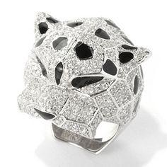 Gem+Treasures+Sterling+Silver+2.61ctw+White+Zircon+&+Enamel+Cheetah+Ring