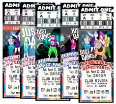 JUST DANCE HIP HOP BIRTHDAY PARTY TICKET INVITATIONS VIP PASS FAVORS CUSTOM Dance Party Kids, Dance Party Birthday, Kids Birthday Party Invitations, Birthday Boys, Just Dance, Vip Pass, Kids Party Themes, Party Ideas, Parties Decorations