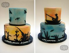 Hunting/fishing cake. I like the background being multiple shades, with the silhouette just being flat.