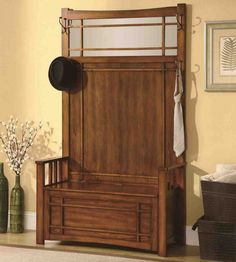 Modern Entryway Benches Hall Tree With Storage Bench And Side Hooks In Walnut Finish Hall Tree Storage Bench, Hall Tree Bench, Storage Bench Seating, Entry Bench, Entryway Storage, Entryway Furniture, Bench Furniture, Coaster Furniture, Bench With Storage