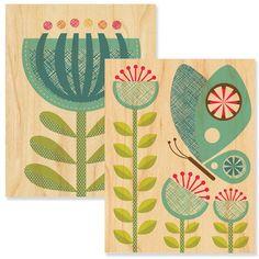 Fab.com | Butterfly & Flower Wood Prints