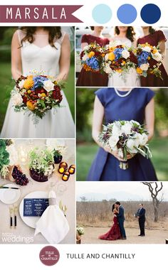 pantone color of the year 2015 marsala and shades of blue wedding color ideas