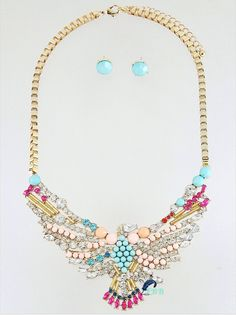 """• Gold tone  • Clear, mint, fuchsia, pink & multi colored stones  • Matching earrings  • Lobster claw closure  • 18-21"""" long  • Nickel & lead compliant www.FreedomBirdBoutique.StoreNvy.com"""