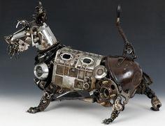 Sculptures made out of scrap car parts by Australian artist James Corbett
