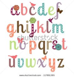 girly alphabet vector set more letters in portfolio