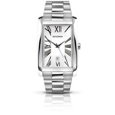 Sekonda Gents Stainless Steel Watch ($86) ❤ liked on Polyvore featuring jewelry, watches, women's accessories, stainless steel bracelet, sekonda, rectangle watches, bracelet watches and stainless steel jewelry