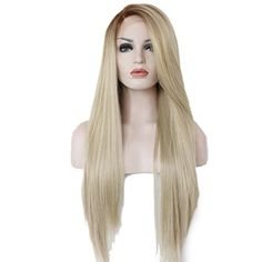 26 Inches Light Blonde Mixed Brown Women Hair Lace Front Wig Heat Resistant >>> See this great product.