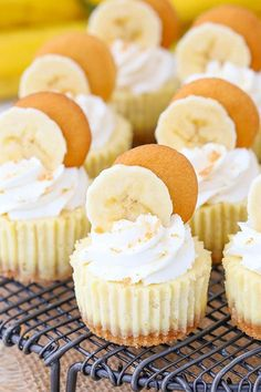 These Mini Banana Pudding Cheesecakes are made with vanilla wafer crusts, banana cheesecake filling & topped with whipped cream! Theyre sweet little bites of banana pudding heaven! Banana Pudding Cheesecake, Mini Cheesecake Recipes, Banana Pudding Recipes, Mini Desserts, Easy Desserts, Delicious Desserts, Yummy Food, Cheesecake Bites, Raspberry Cheesecake