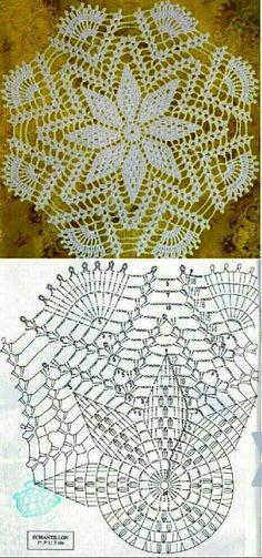 Kira crochet: Crocheted scheme no. Crochet Doily Diagram, Crochet Doily Patterns, Filet Crochet, Crochet Motif, Crochet Designs, Crochet Lace, Crochet Dollies, Crochet Stars, Crochet Round
