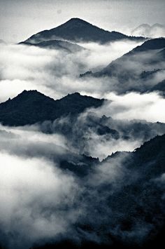 Misty mountains in the Appalachians, USA.