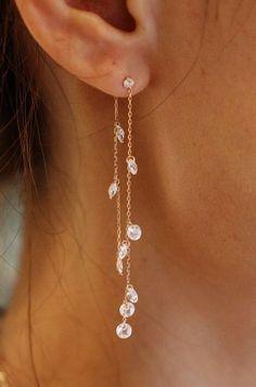 Elegant Gold Filled Smoky Brown Topaz Crystal Stud Dangle Boucles d/'oreilles pour femmes