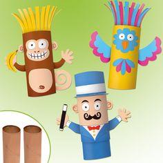 Fabriquer des personnages rigolos avec de simples rouleaux en carton, c'est ce que propose ce kit créatif.