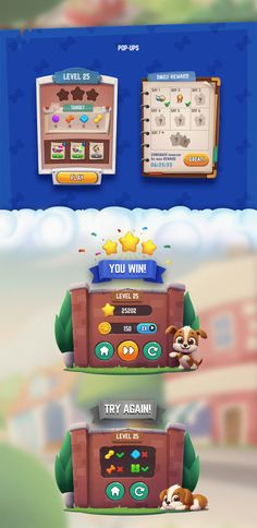 Dog Mania on Behance Game Gui, Game Icon, Game Concept, Concept Art, Played Yourself, Casual Art, Game Ui Design, Dog Games, Level Up