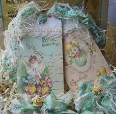 Easter tags in soft greens and yellows