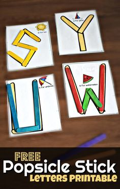 FREE Popsicle Stick Alphabet Printable - super cute hands on alphabet activity for practicing making uppercase letters with toddler, preschool, kindergarten Preschool Literacy, Preschool Letters, Literacy Activities, Preschool Activities, Toddler Preschool, Kindergarten Names, Preschool Workbooks, Toddler Class, Preschool Education