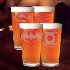 Set of 4 Superhero Etched Pint Glasses, Batman, Superman, Wonder Woman, Green Lantern Inspired Pint Glasses, Custom Pub Mugs by stickemupBreeLee on Etsy
