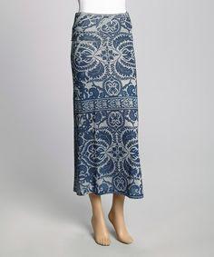 Navy & Gray Brocade Maxi Skirt