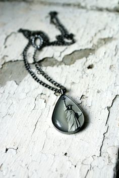 Statue of Liberty NYC Photo Jewelry Teardrop Necklace by thebqe