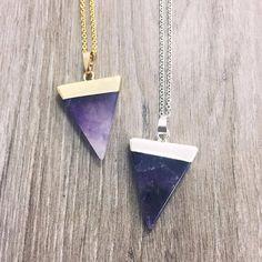 crystal dagger necklaces ✨ #jewerly anyone love amethyst? https://www.instagram.com/p/BHGQFTlAuyz/