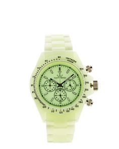 """TOYWATCH """"Disco Plasteramic"""" Watch: Glow in the dark chronograph plasteramic watch with a glow in the dark light green dial, unidirectional bezel and stainless steel back. Mineral crystal crown. Water resistant to 50m. Ib sake $119.90"""