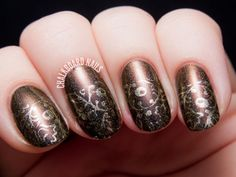 Autumnal Gilded Half Moon Stamping by @chalkboardnails #31DC2014