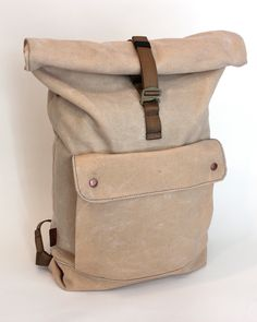 Waxed Canvas Rolltop Backpack - Natural.