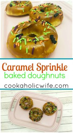 Caramel Sprinkle Baked Doughnuts | cake based baked doughnuts are topped with caramel dip and Halloween Sprinkles for a great holiday treat | #HalloweenTreatsWeek - Cookaholic Wife