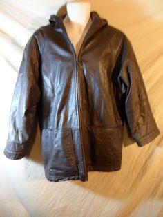 VINTAGE Women's Spiegel Brown Leather Zippered Jacket Hit Coat with Hood-Small #Spiegel #BasicJacket