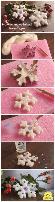 Simply way to make prefect felted snowflakes using needle felting technique