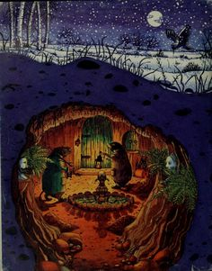 ohsamiam: Mole's Christmas, or, Home Sweet Home (from The Wind in the Willows by Kenneth Grahame. Illustrations by Beverley Gooding Are children read Wind in the Willows anymore. Such a wonderful book! Art And Illustration, Illustration Children, Christmas Illustration, Book Illustrations, Fantasy Kunst, Fantasy Art, Les Moomins, Fairytale Art, Woodland Creatures