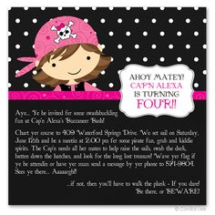 Pink Pirate Birthday Party for Girls