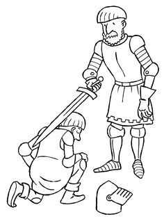 This ritual illustrates a man being knighted. The sword touches both shoulders, when the man kneels. The kneeling is actually performed before god. Medieval Knight, Medieval Fantasy, Chateau Moyen Age, Mike The Knight, Coloring Books, Coloring Pages, Medieval Party, Dragon Coloring Page, Château Fort